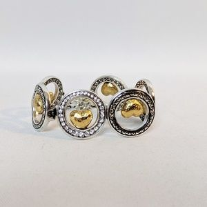 Brighton Gold & Silver Circle Heart Bracelet 7 3/4